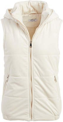 Gingerly Women's Outerwear Vests Cream - Cream Hooded Velvet Puffer Vest - Women