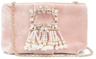 Roger Vivier Broche Crystal And Pearl-embellished Velvet Bag - Light Pink