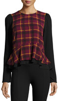 Romeo & Juliet Couture Plaid Ruffled Blouse, Wine Combo