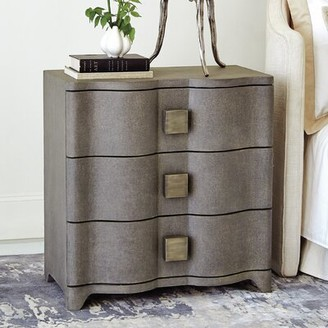 Studio A Home Toile Linen Bedside 3 Drawer Chest Color: Gray
