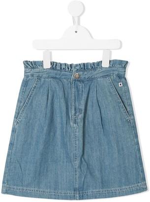 Molo Kids ruched waist denim skirt