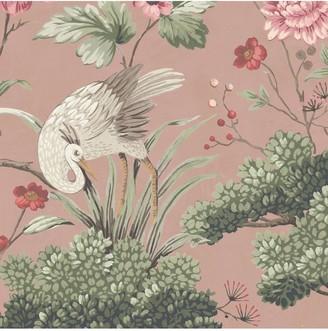 Crane Bird Vintage Pink Wallpaper