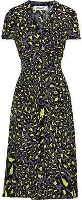 Diane von Furstenberg Ruched Crepe Midi Dress