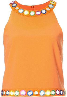 Moschino Mirror Embellished Sleeveless Top