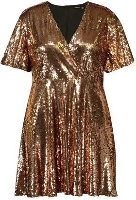 boohoo Plus Sequin Wrap Sleeve Skater Dress