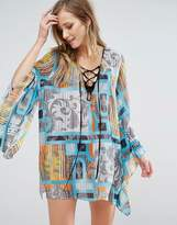 Forever Unique Beach Dress With Fluted Sleeve