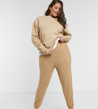 ASOS DESIGN Curve supersoft jogger with metal tie ends in camel