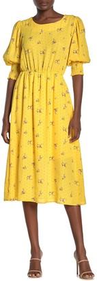Superfoxx Smocked Elbow Sleeve Midi Dress