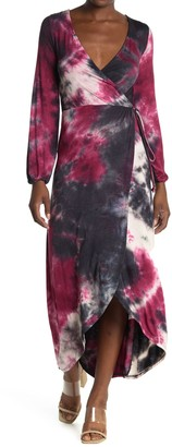 Velvet Torch Tie Dye Long Sleeve Wrap Maxi Dress