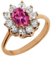 Gem Stone King 1.25 Ct Oval Pink Tourmaline White Topaz Rose Gold Plated Sterling Silver Ring