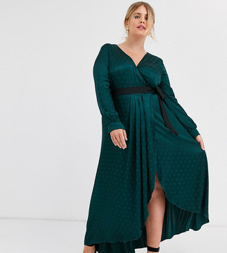 Little Mistress Plus satin wrap dress with contrast waistband in green