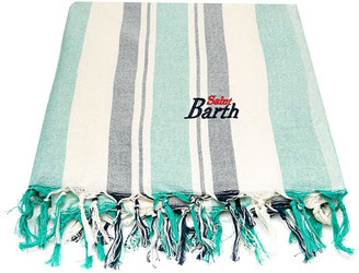 MC2 Saint Barth Green And Blue Striped Ultralight Cotton Towel