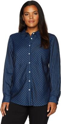 Foxcroft Women's Long Sleeve Hazel Pinstripe Denim Tencel Blouse