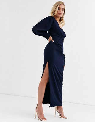Yaura wrap front midaxi dress in navy