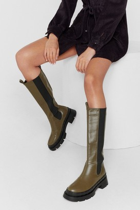 Nasty Gal Womens Faux Leather Knee High Chelsea Wellie Boots - Olive