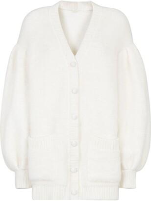 Fendi V-neck bishop-sleeve cardigan