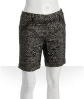 black tweed linen-wool tailored shorts
