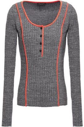 Rag & Bone Melange Ribbed Stretch-cotton Sweater