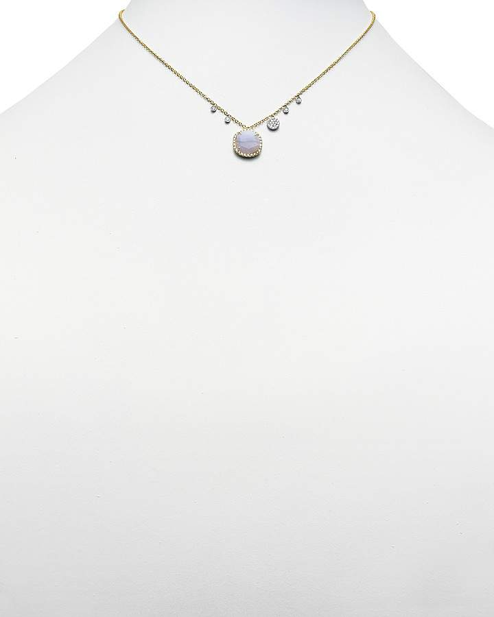 Meira T 14K Yellow Gold Blue Lace Chalcedony Necklace, 16""