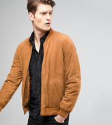 Asos TALL Suede Bomber Jacket In Tan