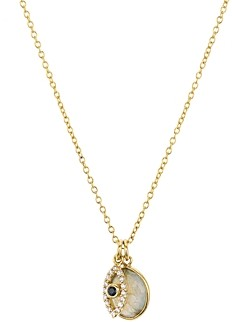 Aqua Evil Eye Charm & Stone Pendant Necklace in 18K Gold-Plated Sterling Silver, 16 - 100% Exclusive