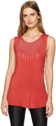 Star Vixen Women's Petite Rayon/Span Str Sleeveless Keyhole Bk Top W Silver Stud Trim