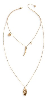 AllSaints Saint and Horn Nested Double Pendant Necklace, 18, 30
