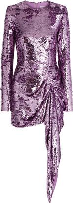 16Arlington Draped Sequined Mesh Mini Dress