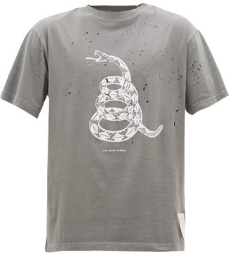 Satisfy Moth-eaten Snake-print Cotton-jersey T-shirt - Mens - Grey