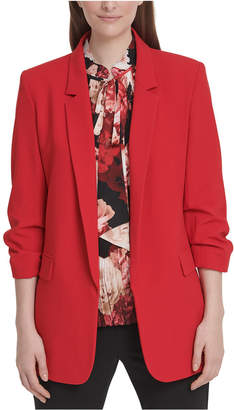 DKNY Petite Gathered-Cuff Open-Front Blazer