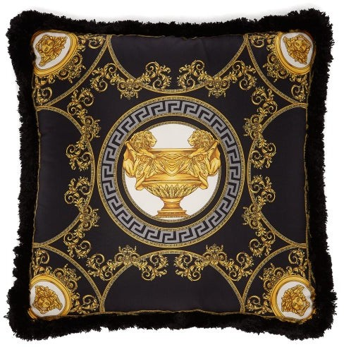 Versace La Coupe Des Dieux Silk Cushion - Black Gold