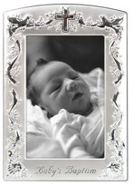 "Baby Baptism Two-Tone Picture Frame, Pewter, 4""x6"""