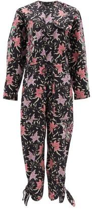 Isabel Marant Gigi Embroidered Floral-print Cotton Jumpsuit - Black Multi