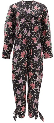 Isabel Marant Gigi Embroidered Floral-print Cotton Jumpsuit - Womens - Black Multi
