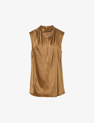 Reiss Freya chain-detail crepe blouse