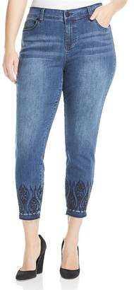 Liverpool Los Angeles Plus Liverpool Plus Abby Embroidered Ankle Jeans in Montauk Mid Blue