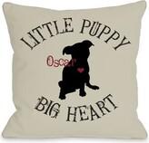 Little Puppy, Big Heart Personalized Fleece Throw Pillow One Bella Casa