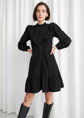 And other stories Embroidered Button Up Ruffle Mini Dress