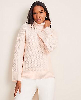 Ann Taylor Petite Turtleneck Cable Sweater