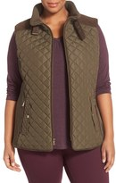 Gallery Plus Size Women's Quilted Vest With Faux Suede Trim