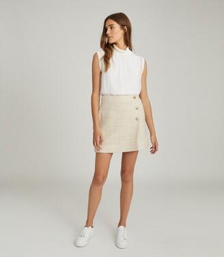 Reiss June - Boucle Mini Skirt in Cream