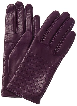 Bottega Veneta Silk-Lined Intrecciato Leather Gloves