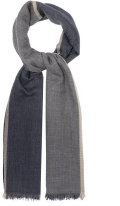Brunello Cucinelli Colour-block Cashmere-blend Scarf - Navy