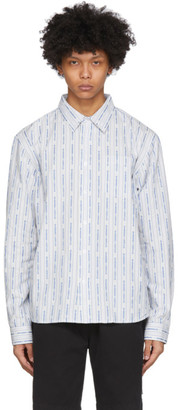 Stussy White and Blue Jacquard Logo Stripe Shirt
