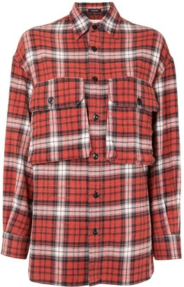 R 13 Flap-Pocket Plaid Shirt