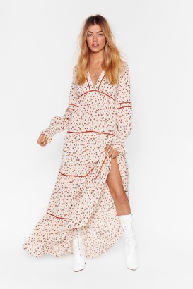 Nasty Gal Womens Plant You See Floral Maxi Dress - Cream