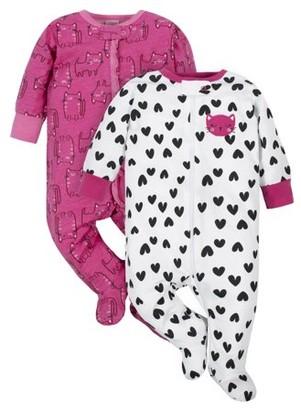 Gerber Newborn Baby Girls Zip-up Sleep 'N Play Footie Pajamas, 2-Pack