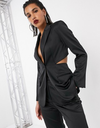 ASOS EDITION bonded satin jacket with cut out back