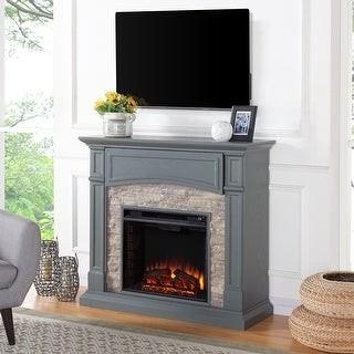 The Gray Barn Cavern Grey Stone Electric Media Fireplace