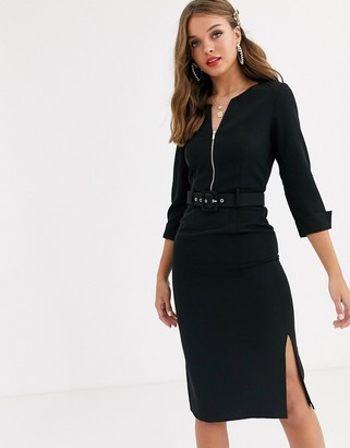 Paper Dolls belted midi dress with roll sleeve and double split in black